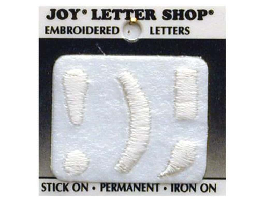 "Joy Lettershop Iron-On Character ""!);"" Embroidered 1 1/2 in. White"