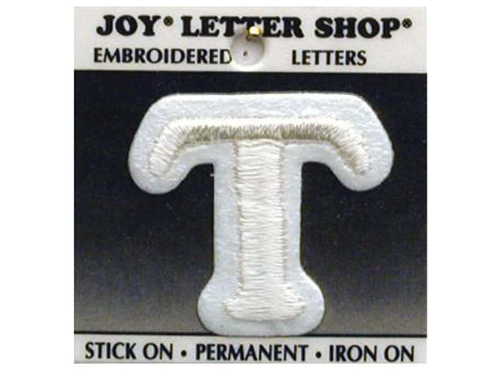 "Joy Lettershop Iron-On Letter ""T"" Embroidered 1 1/2 in. White"