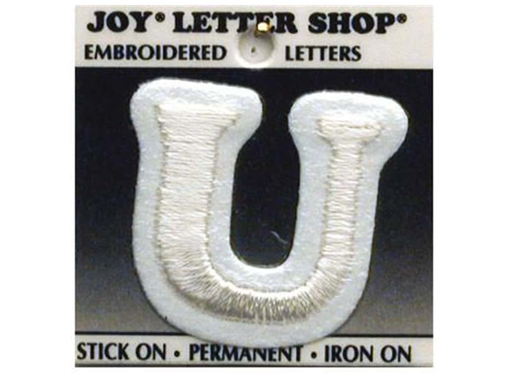 "Joy Lettershop Iron-On Letter ""U"" Embroidered 1 1/2 in. White"