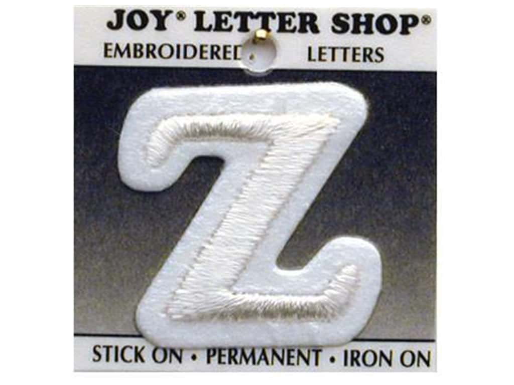 "Joy Lettershop Iron-On Letter ""Z"" Embroidered 1 1/2 in. White"