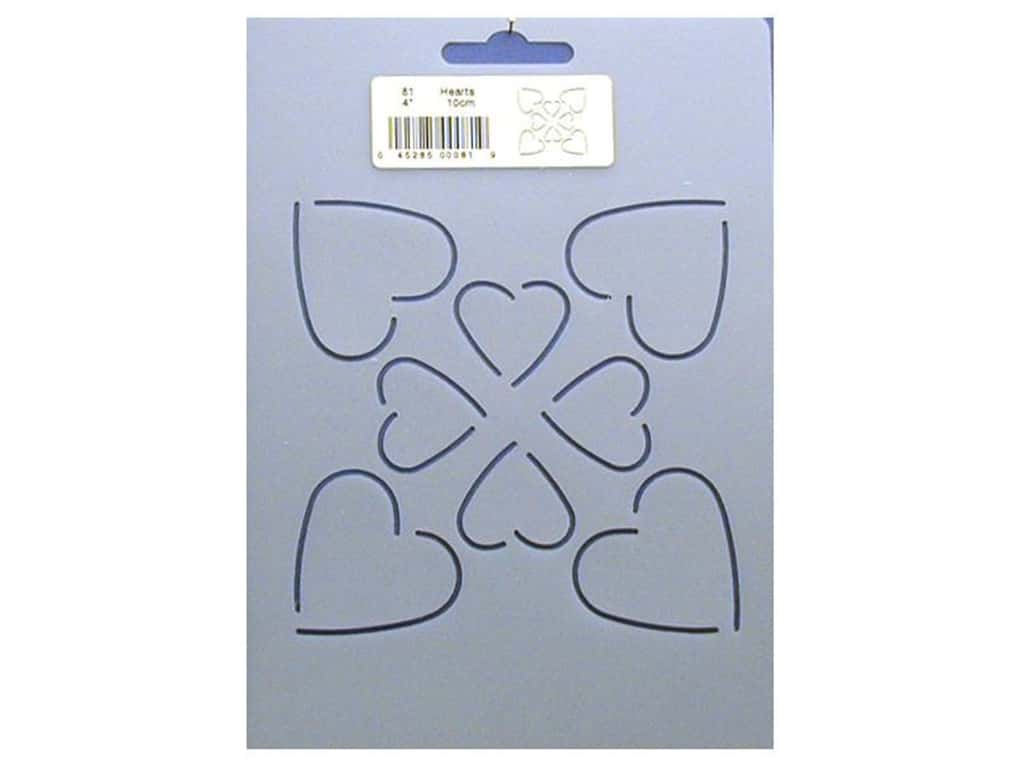 Quilting Creations Stencil Four Hearts 4 in.