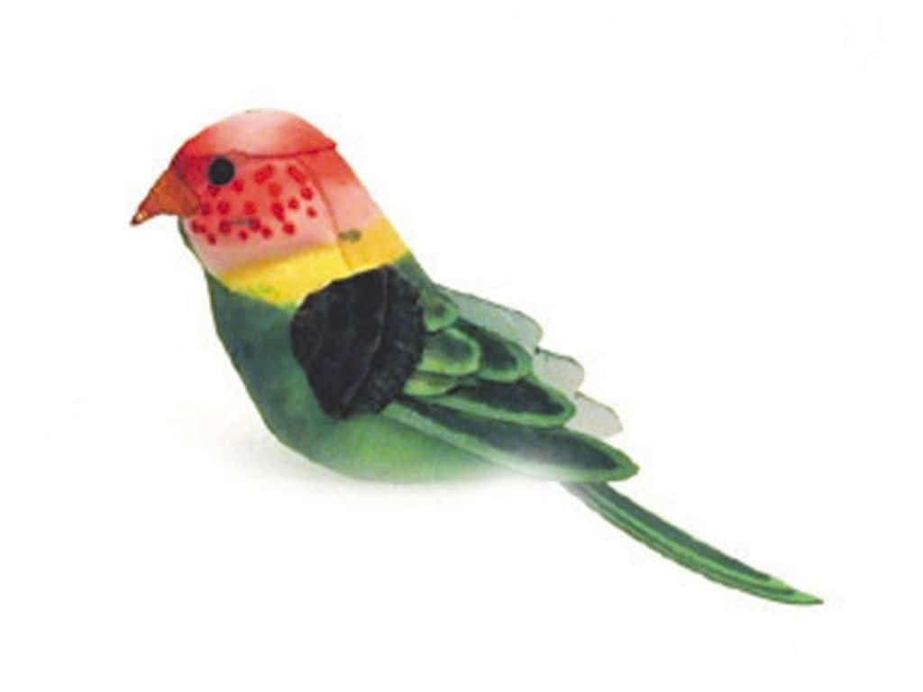 Accent Design Artificial Bird 5 in. Parakeet Green/Red Feather 1 pc.