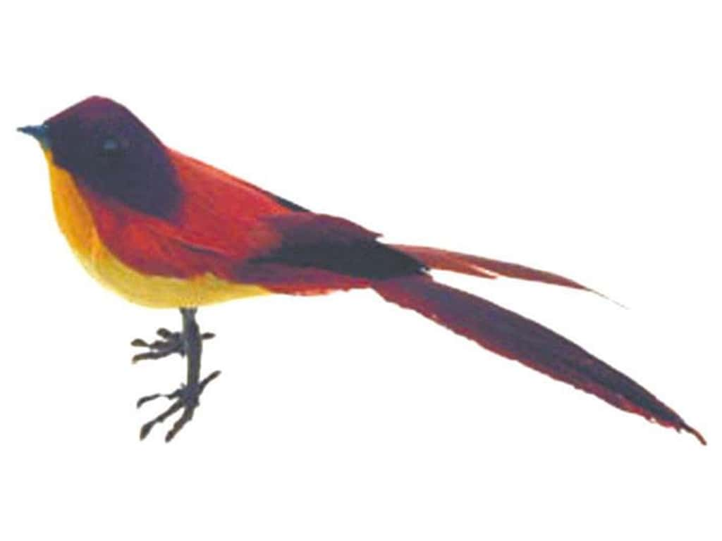 Accent Design Artificial Bird 4 1/4 in Red/Yellow/Purple Feather 1 pc.
