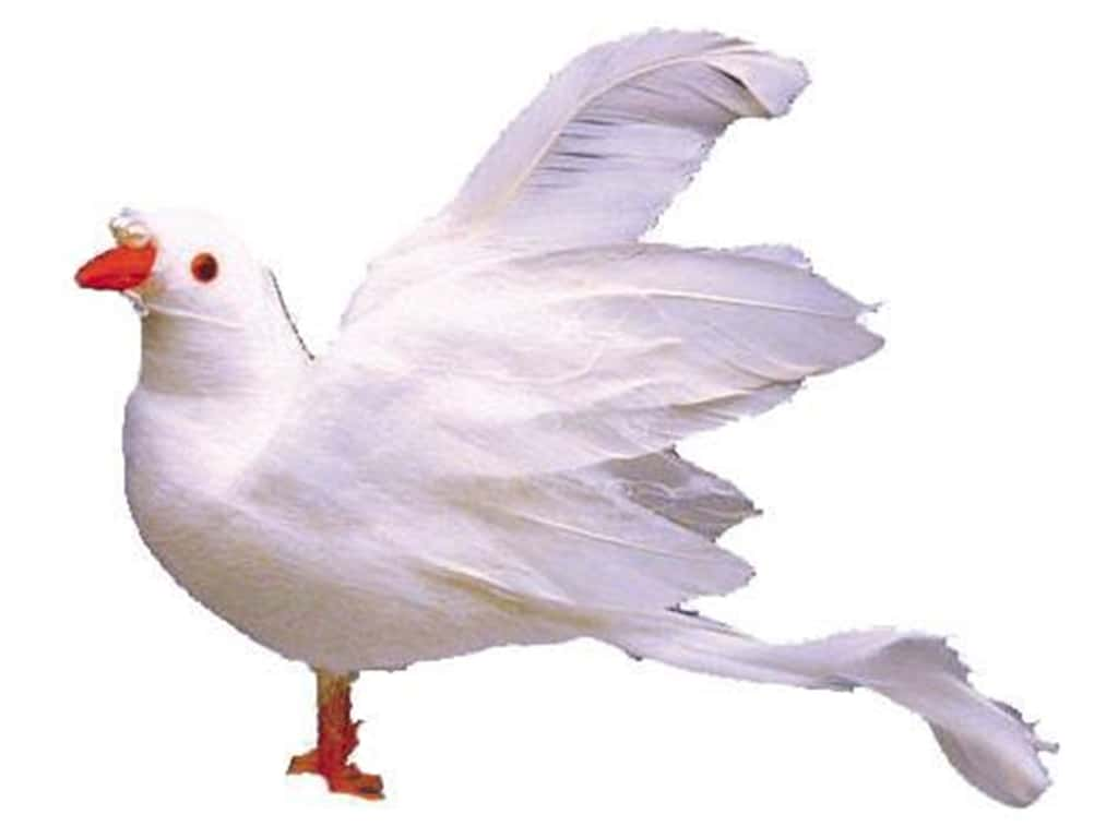 Accent Design Artificial Bird 4 in. Dove White Feather 1 pc.