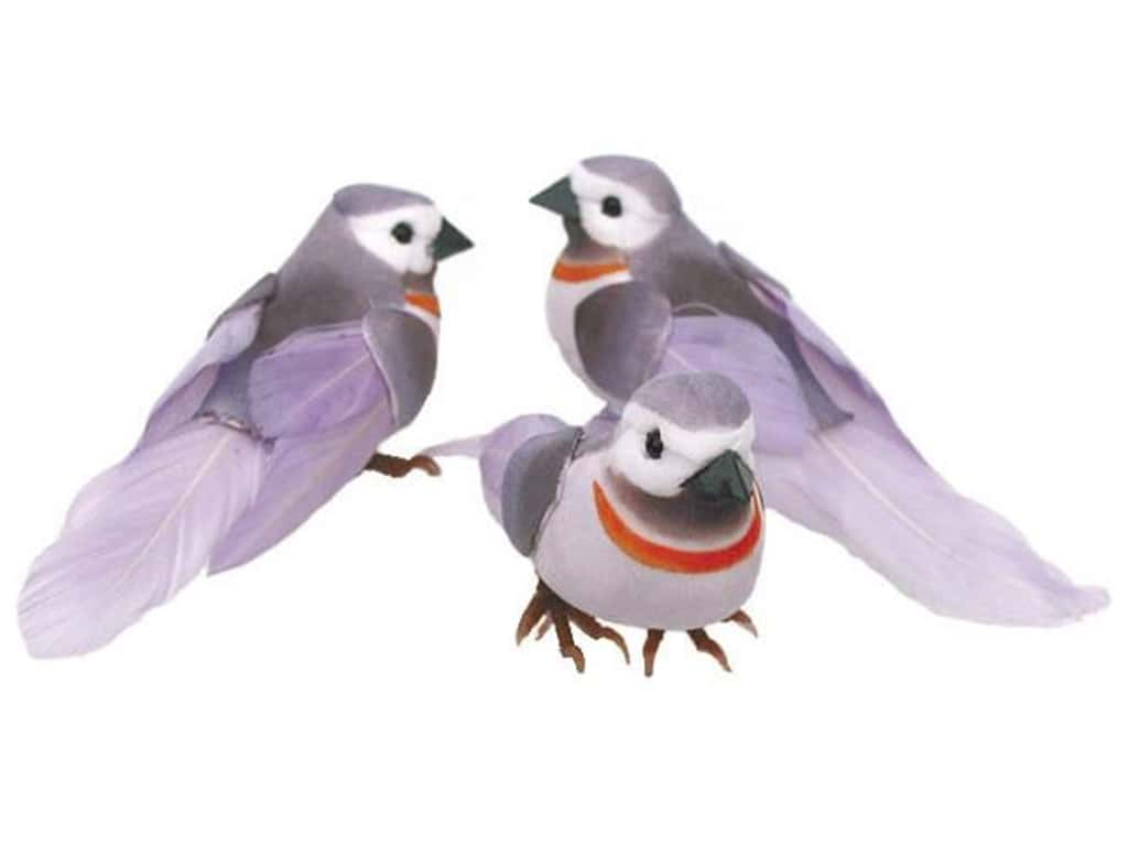 Accent Design Artificial Bird 4 in. Lavender/White/Grey Feather 1 pc.