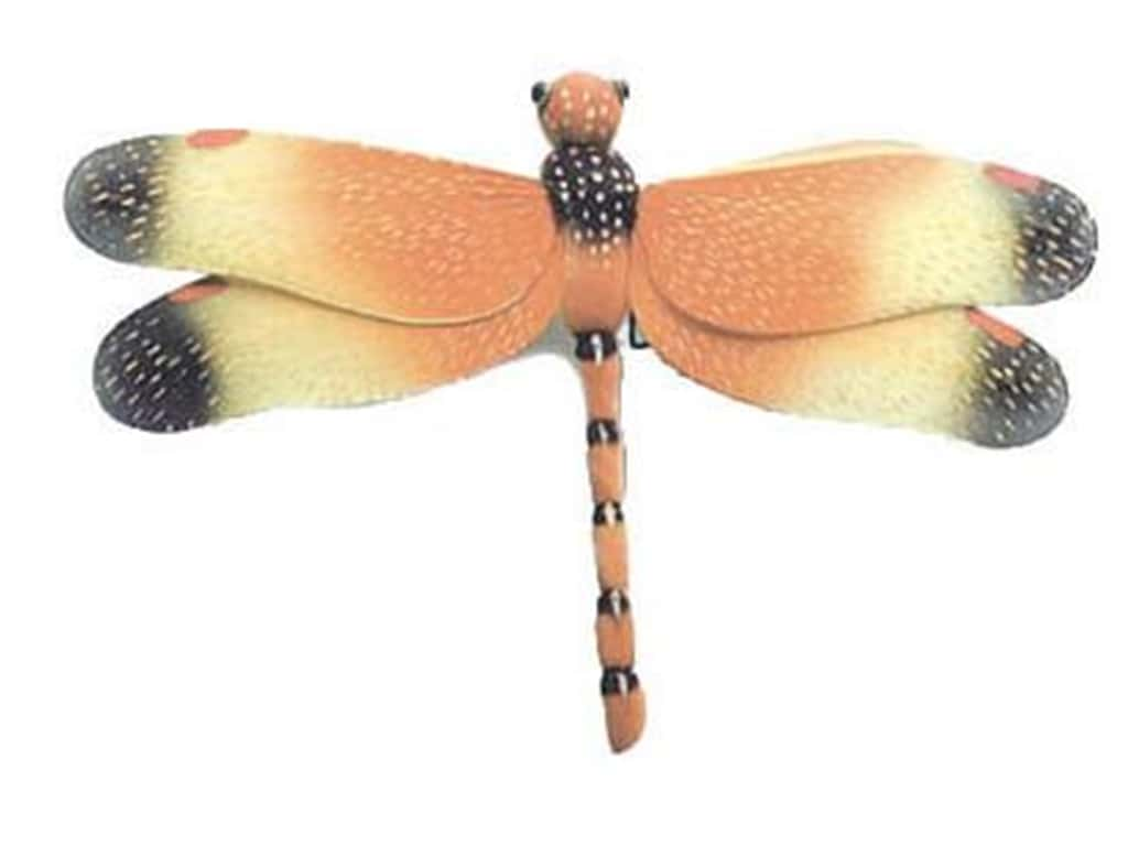 Accent Design Artificial Dragonfly 14 in. Orange/Yellow/Bk/Gold 1 pc.