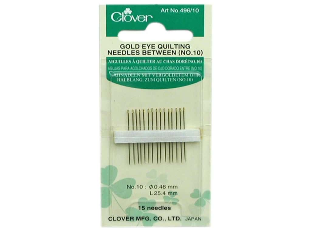 Clover Gold Eye Quilting Needles 15 pc. Between Size 10