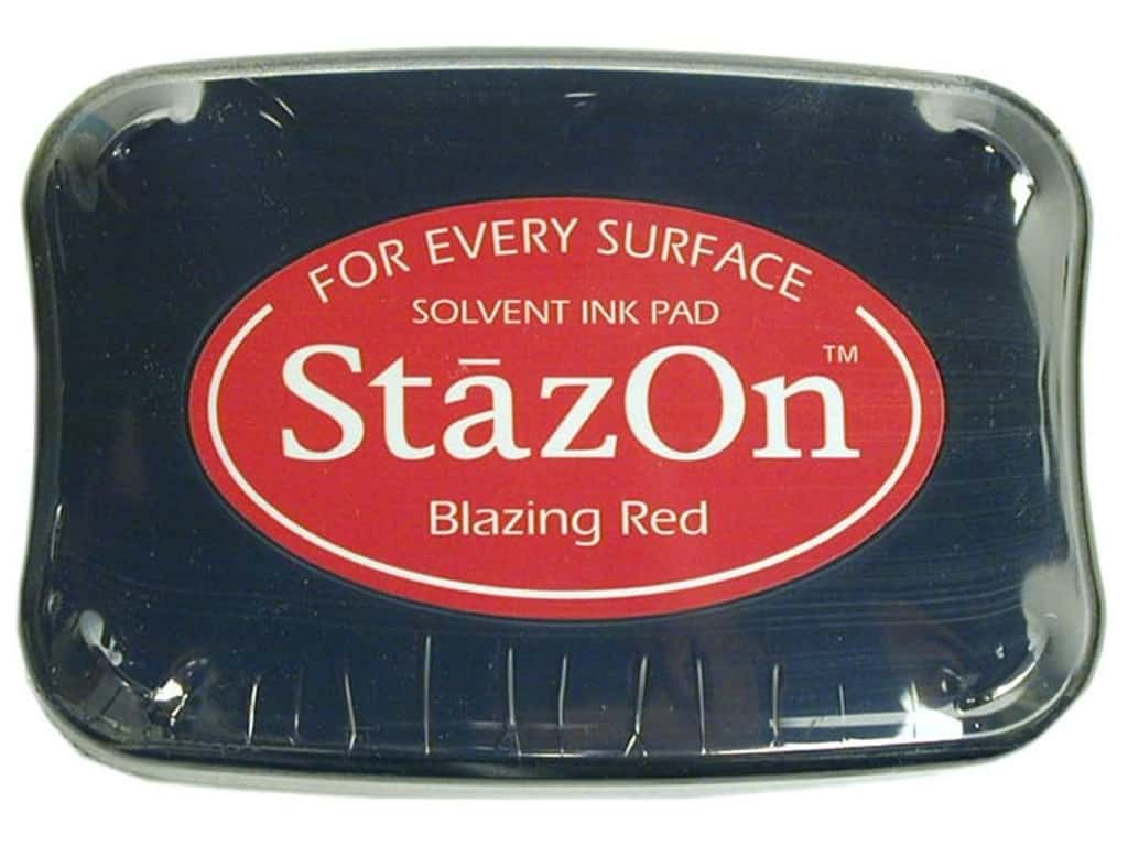 Tsukineko StazOn Large Solvent Ink Stamp Pad Blazing Red