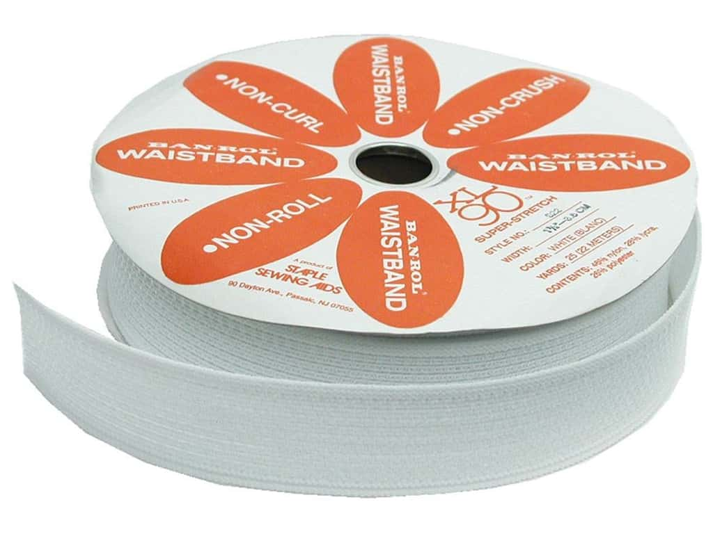 Staple Ban-Rol Waistband Elastic 1 1/2 in. White (25 yards)
