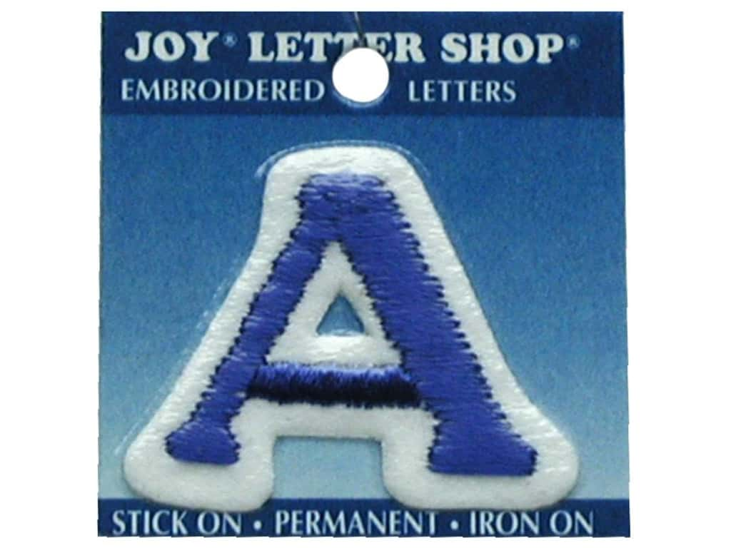 "Joy Lettershop Iron-On Letter ""A"" Embroidered 1 1/2 in. Blue"