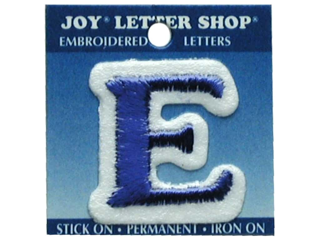 """Joy Lettershop Iron-On Letter """"E"""" Embroidered 1 1/2 in. Blue"""