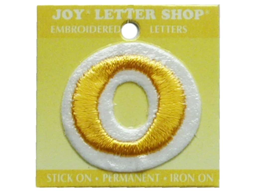 """Joy Lettershop Iron-On Number """"0"""" Embroidered 1 1/2 in. Gold"""