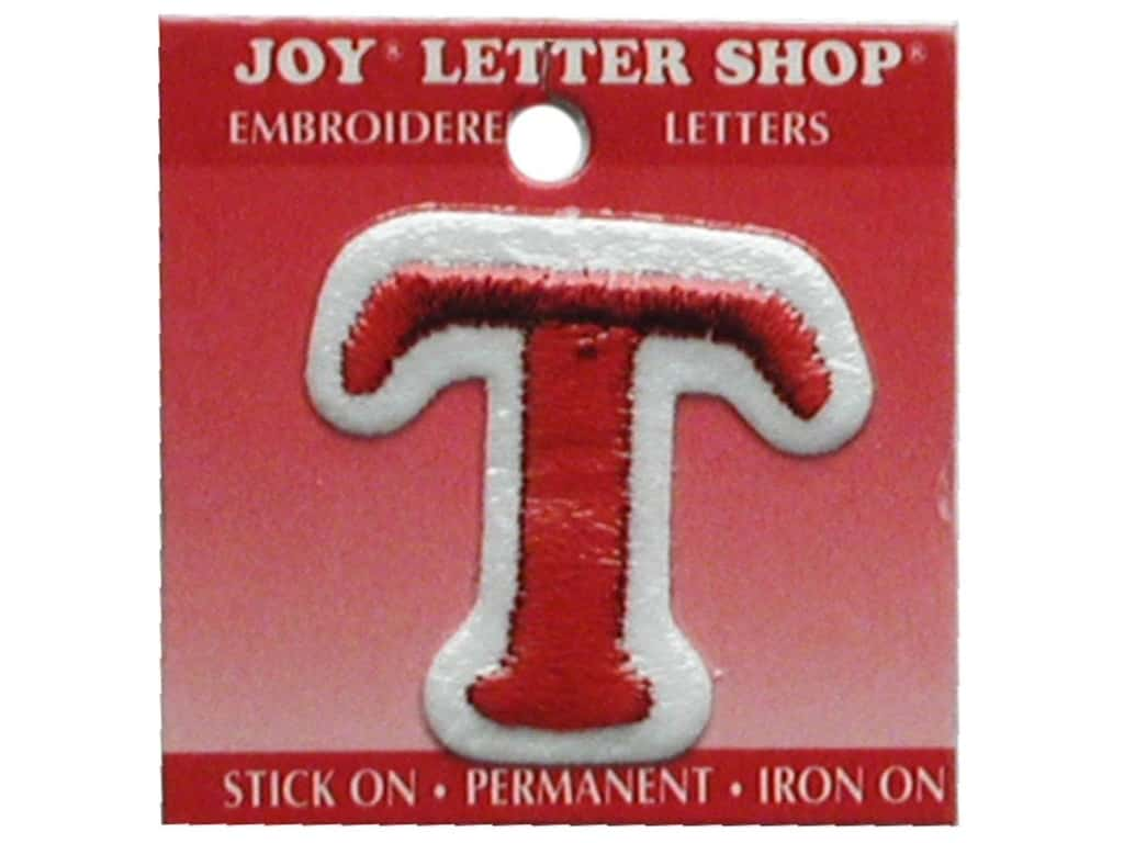 """Joy Lettershop Iron-On Letter """"T"""" Embroidered 1 1/2 in. Red"""