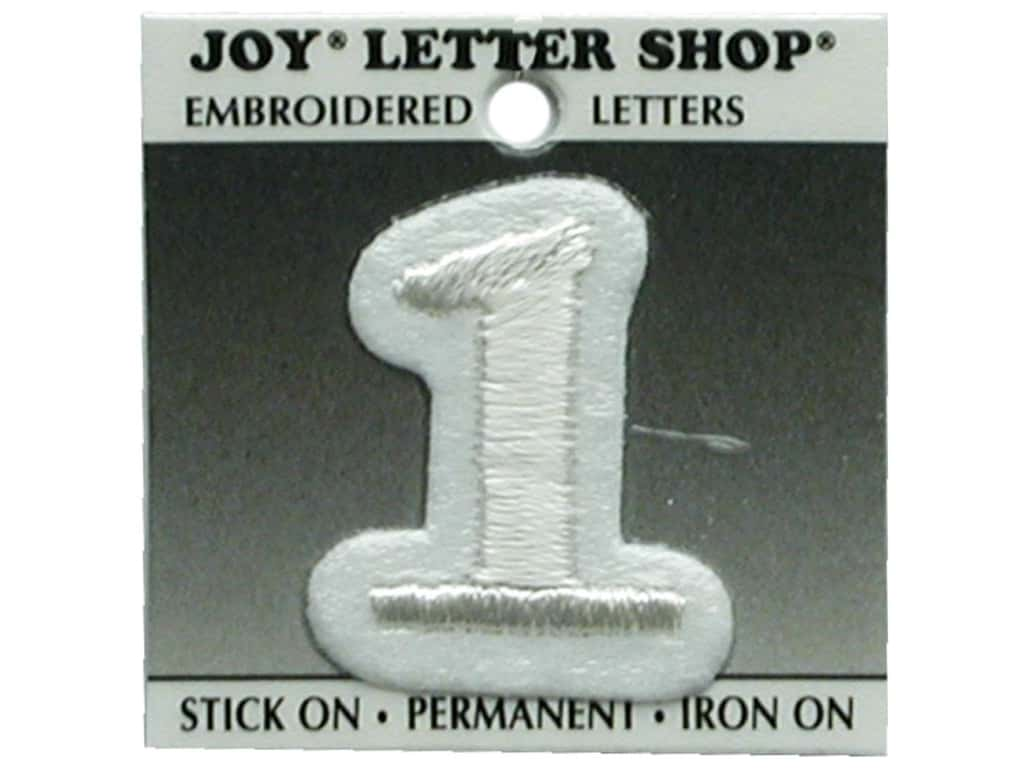 """Joy Lettershop Iron-On Number  """"1"""" Embroidered 1 1/2 in. White"""
