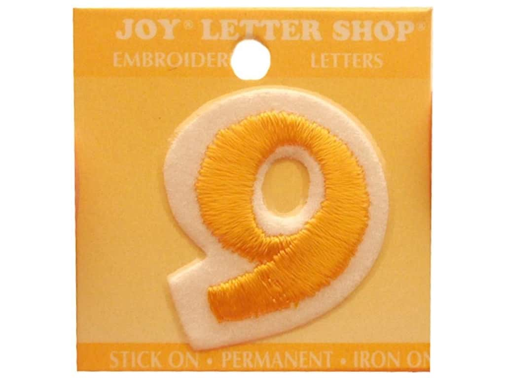 "Joy Lettershop Iron-On Number ""9"" Embroidered 1 1/2 in. Gold"