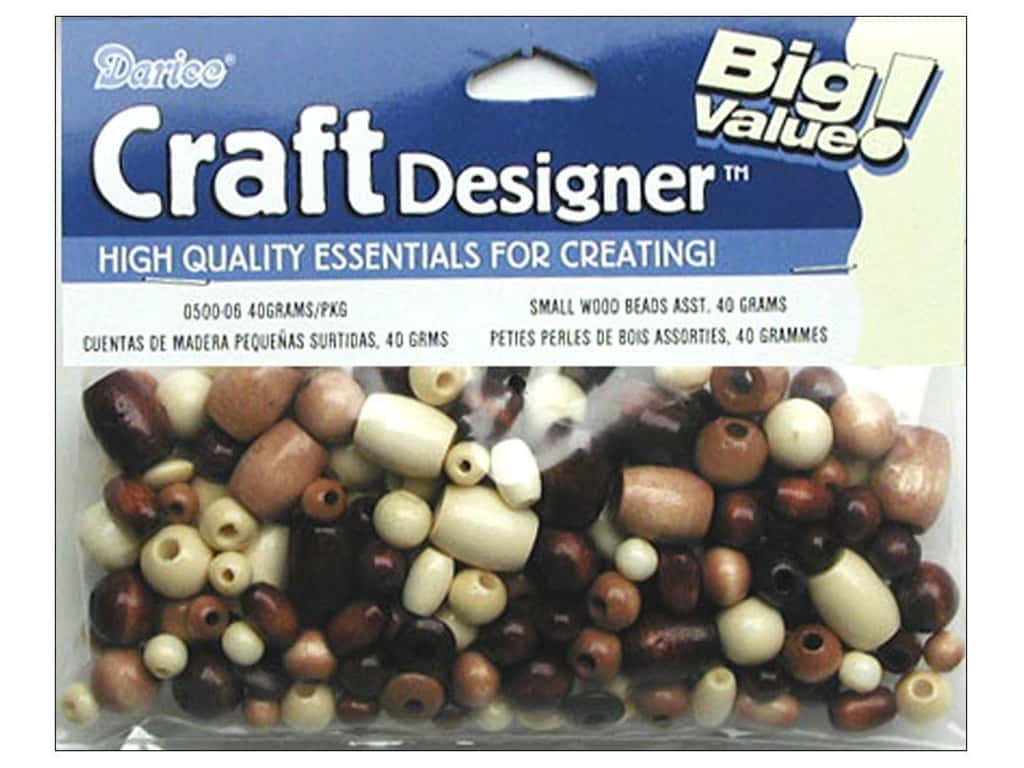 Darice Small Wood Beads 1.41 oz. Assorted Natural and Tan