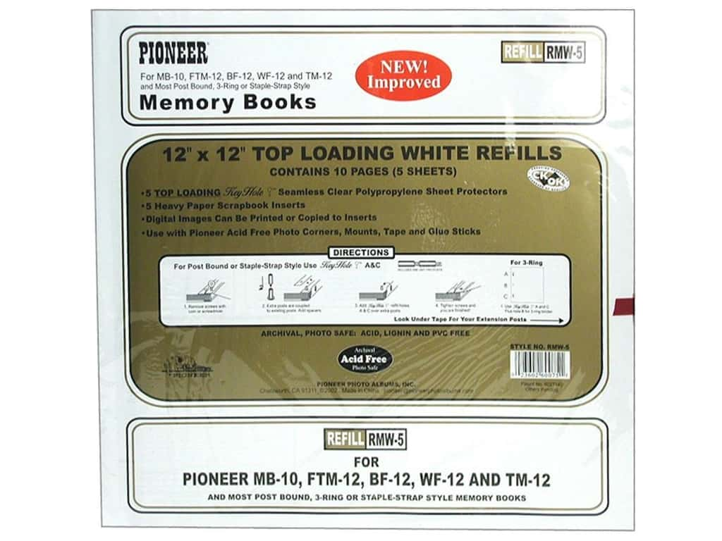 Pioneer Memory Refill Page 12 x 12 in. White