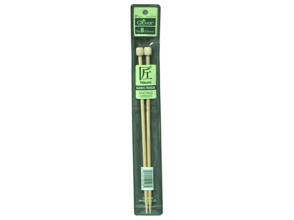 Clover Bamboo Single Point Knitting Needles 9 in. Size 8 (5.0 mm)