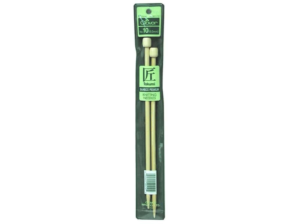 Clover Bamboo Single Point Knitting Needles 9 in. Size 10 (6.0 mm)