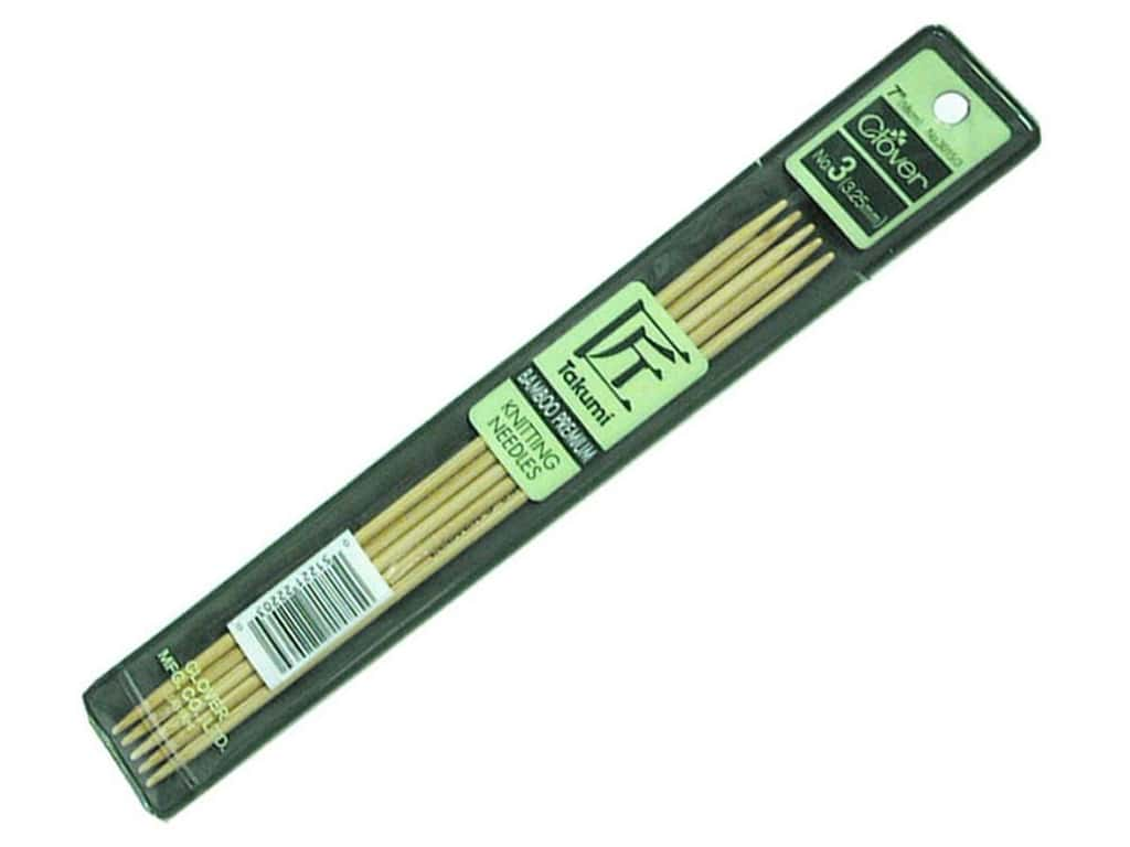 Clover Bamboo Knitting Needles Double Pointed 7 in. Size 3 (3.25 mm) 5 pc.