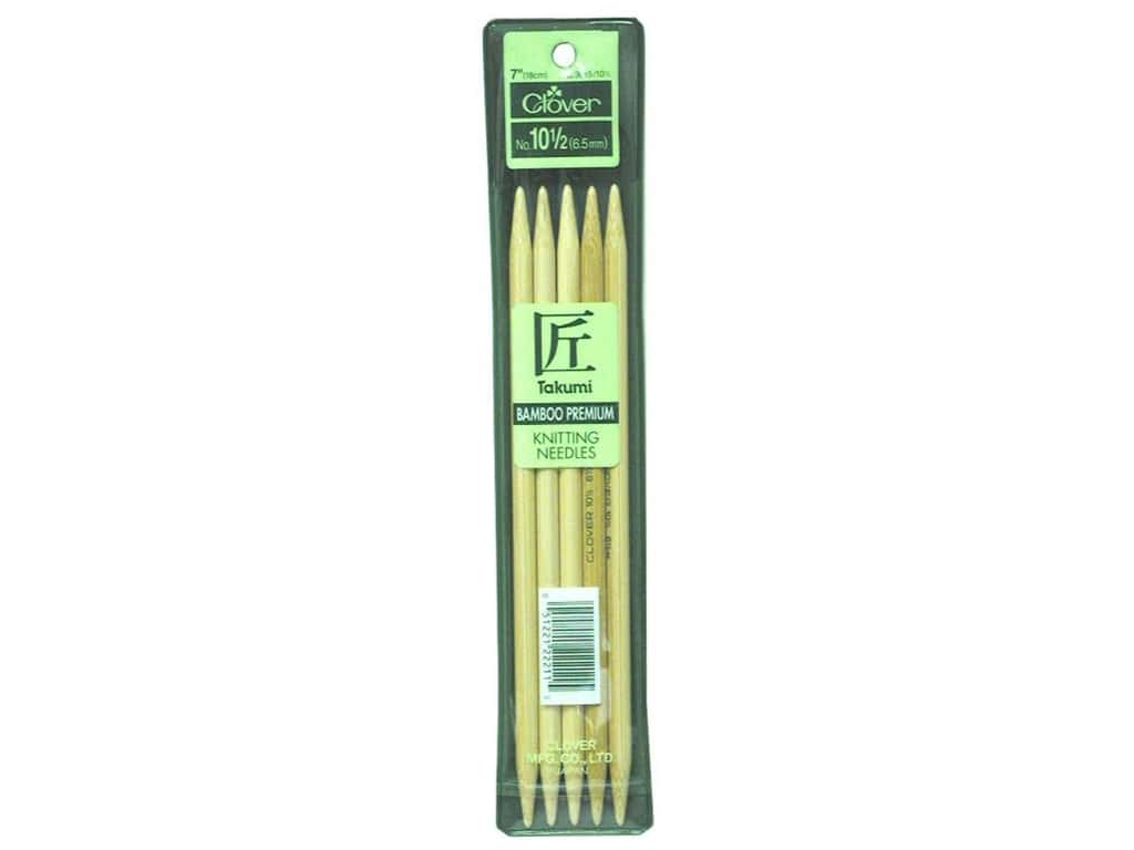 Clover Bamboo Knitting Needle Double Point 7 in. Size 10 1/2 (6.5 mm) 5 pc.