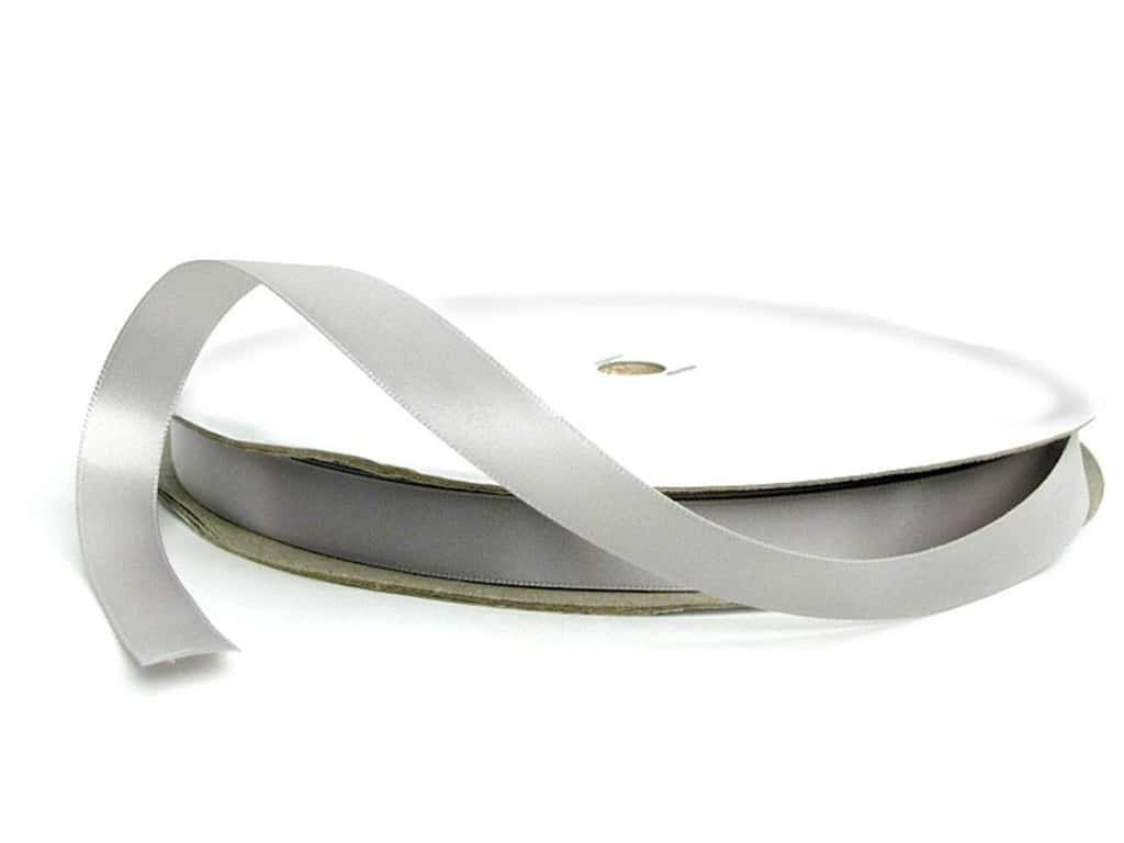 Offray Double Face Satin Ribbon 5/8 in. x 100 yd. Silver (100 yards)