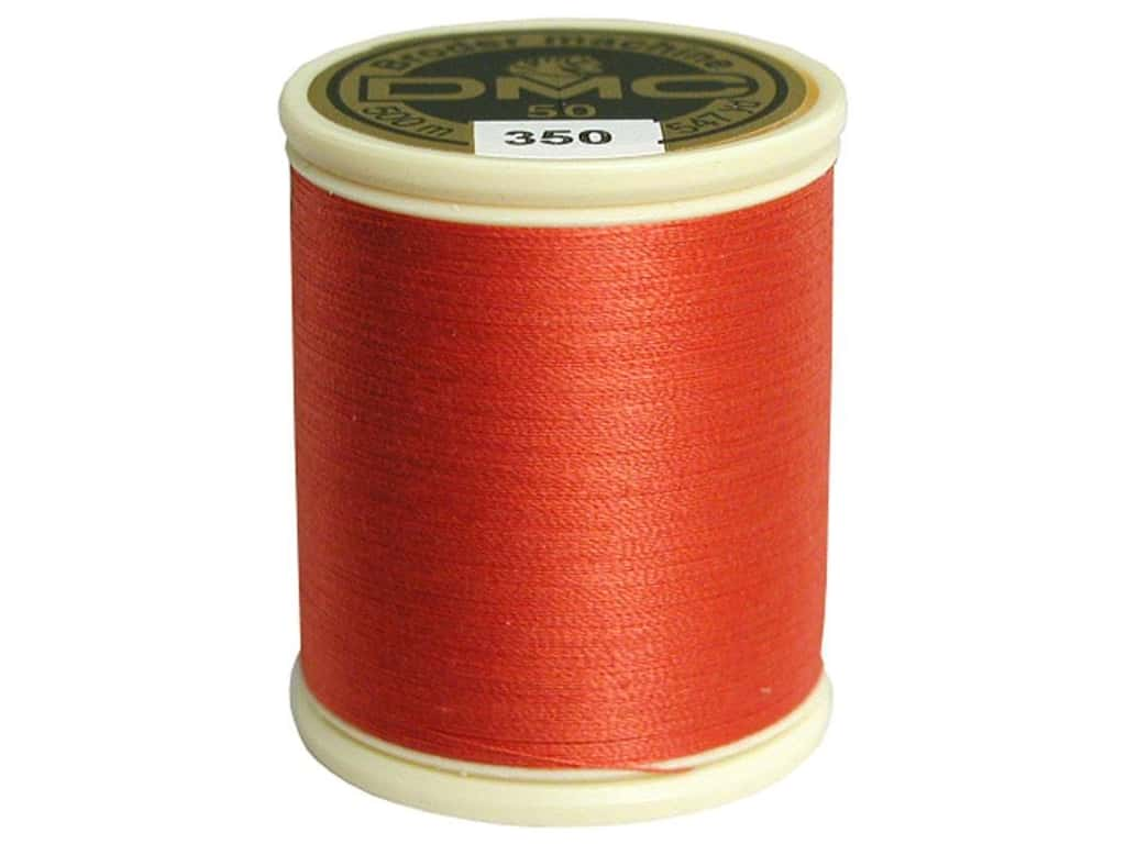 DMC Cotton Machine Embroidery Thread 50 wt. 547 yd. #350 Medium Coral