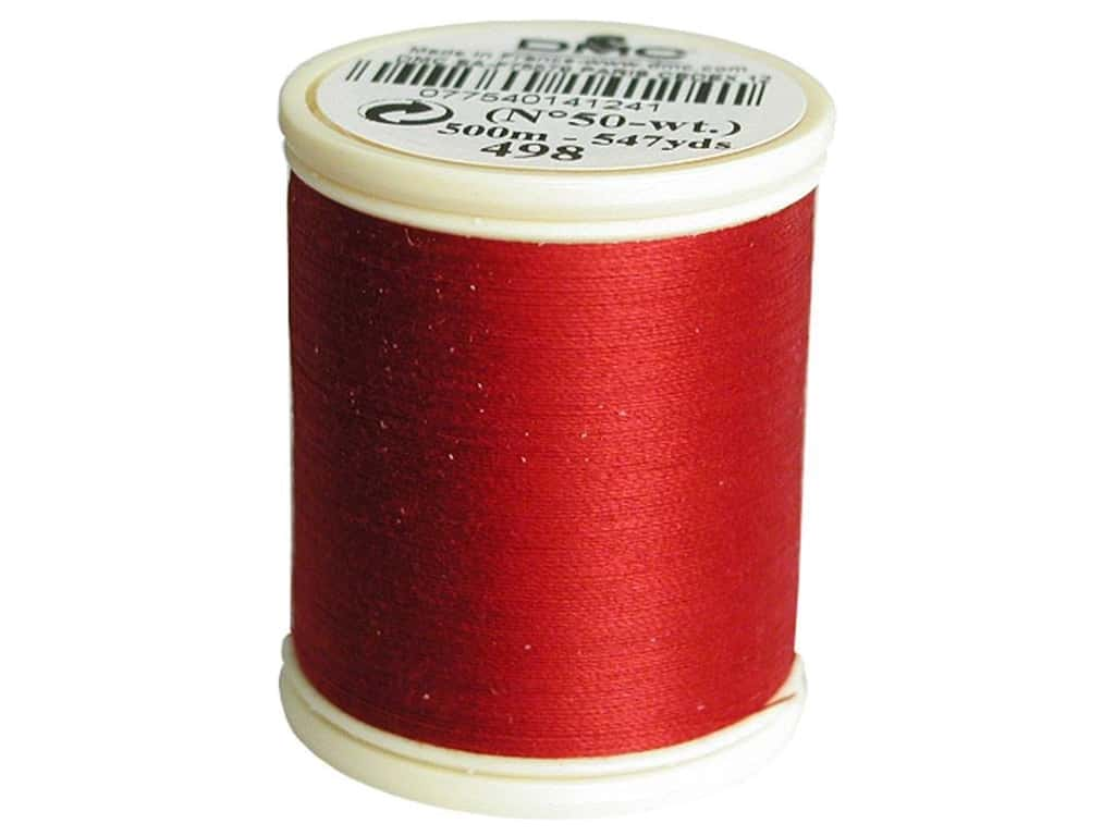 DMC Cotton Machine Embroidery Thread 50 wt. 547 yd. #498 Dark Red