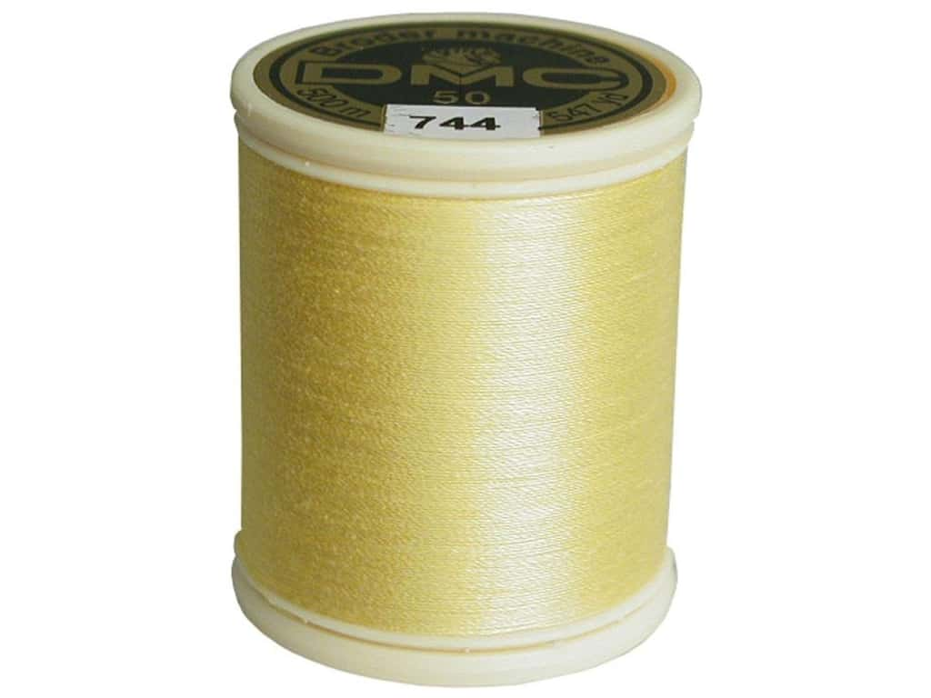 DMC Cotton Machine Embroidery Thread 50 wt. 547 yd. #744 Pale Yellow