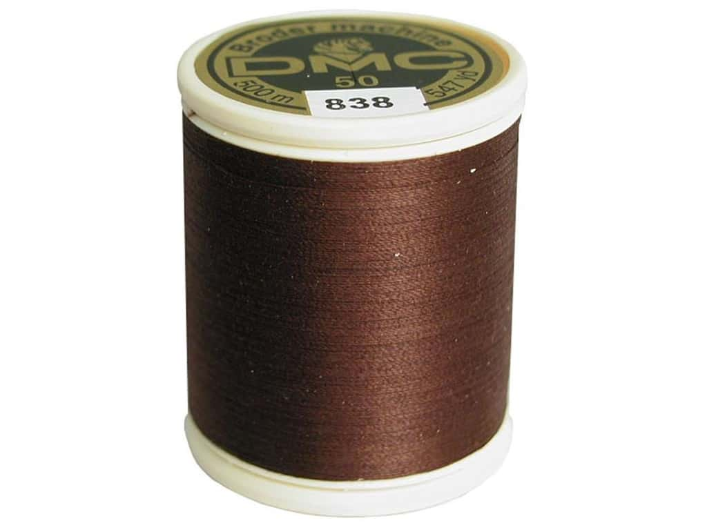 DMC Cotton Machine Embroidery Thread 50 wt. 547 yd. #838 Very Dark Beige Brown