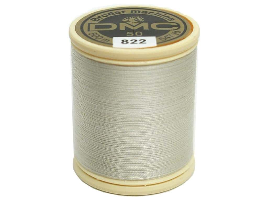 DMC Cotton Machine Embroidery Thread 50 wt. 547 yd. #822 Light Beige Grey