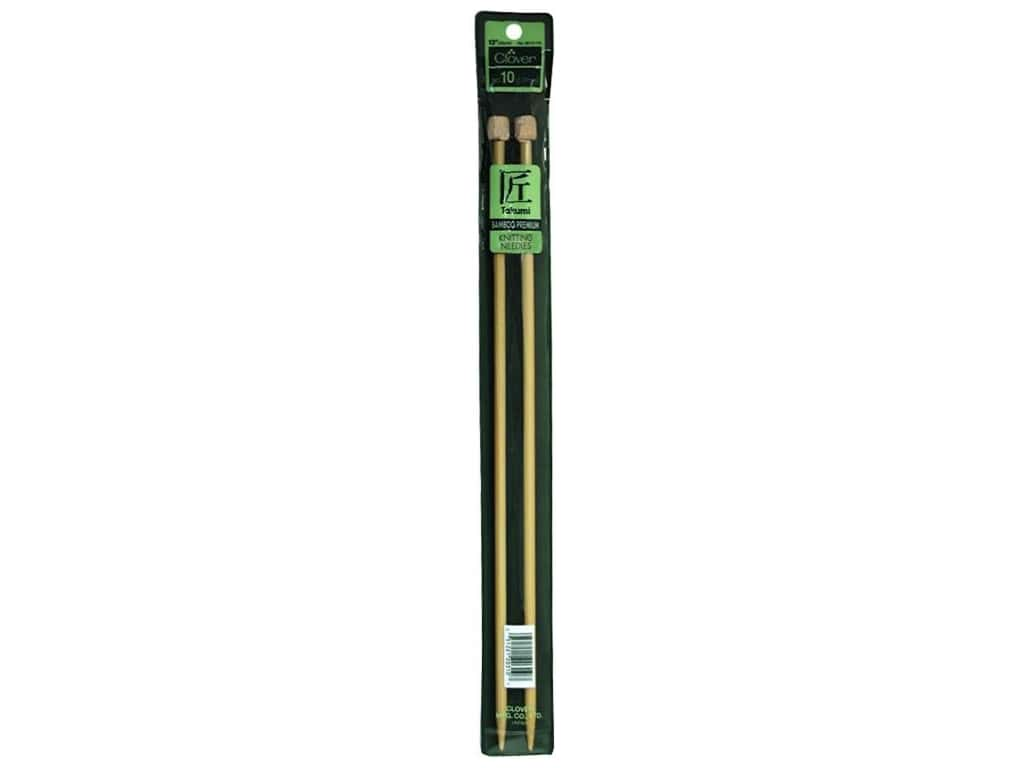 Clover Bamboo Needle Single Point 13 in. Size 10