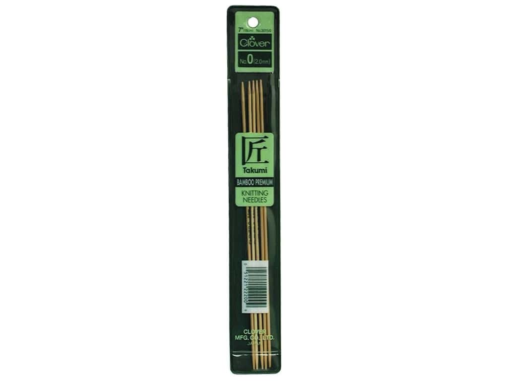 Clover Bamboo Knitting Needle Double Point 7 in. Size 0 (2 mm) 5 pc.