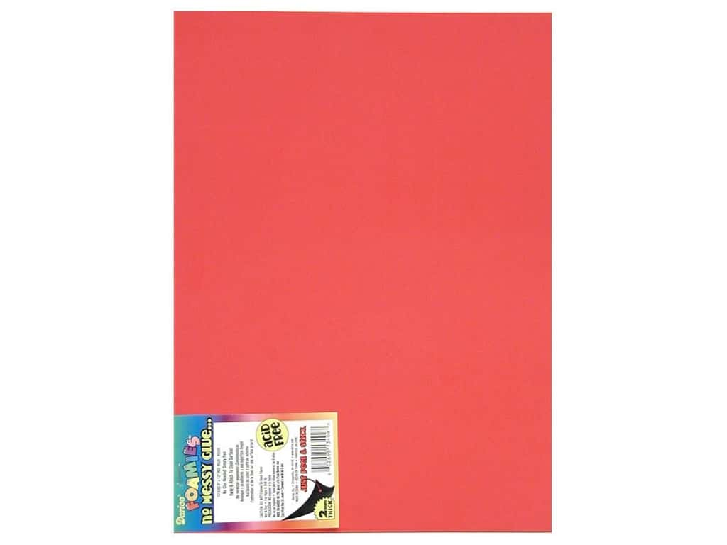 Darice Foamies Sticky Back Sheets 9 x 12 in. 2 mm. Red (10 sheets)