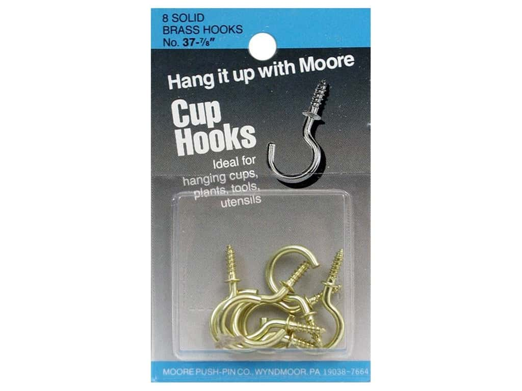Moore Cup Hooks Solid Brass 7/8 in. 8 pc