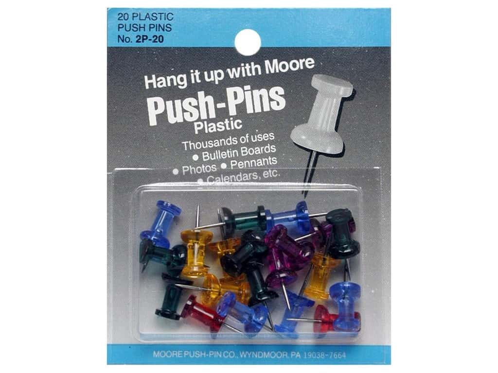 Moore Push Pin Plastic Head 20 pc Assorted Gem Stone