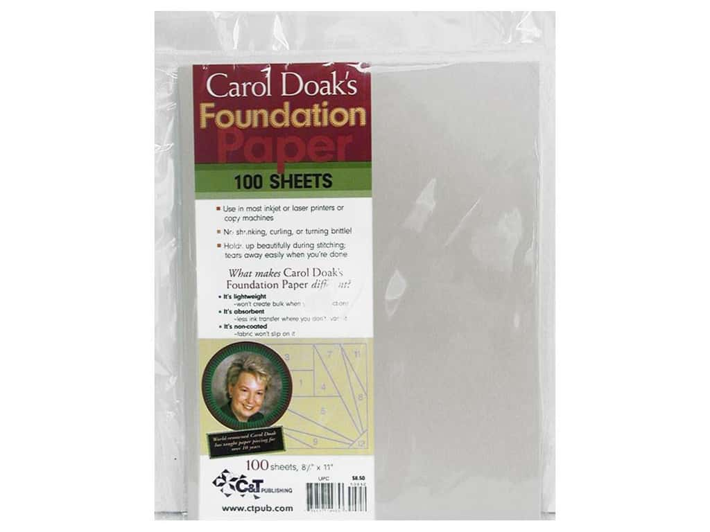 C&T Publishing Carol Doak's Foundation Paper 8 1/2 x 11 in. 100 pc.