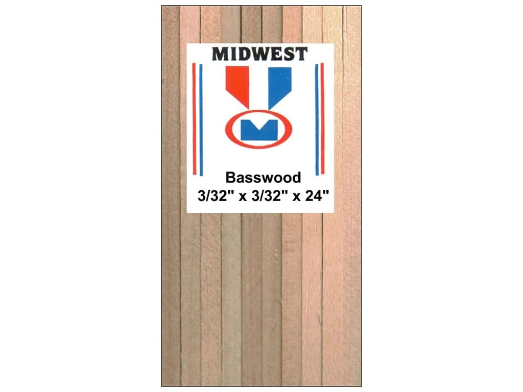 Midwest Basswood Strip 3/32 x 3/32 x 24 in. (60 pieces)