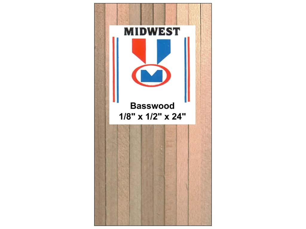 Midwest Basswood Strip 1/8 x 1/2 x 24 in. (15 pieces)