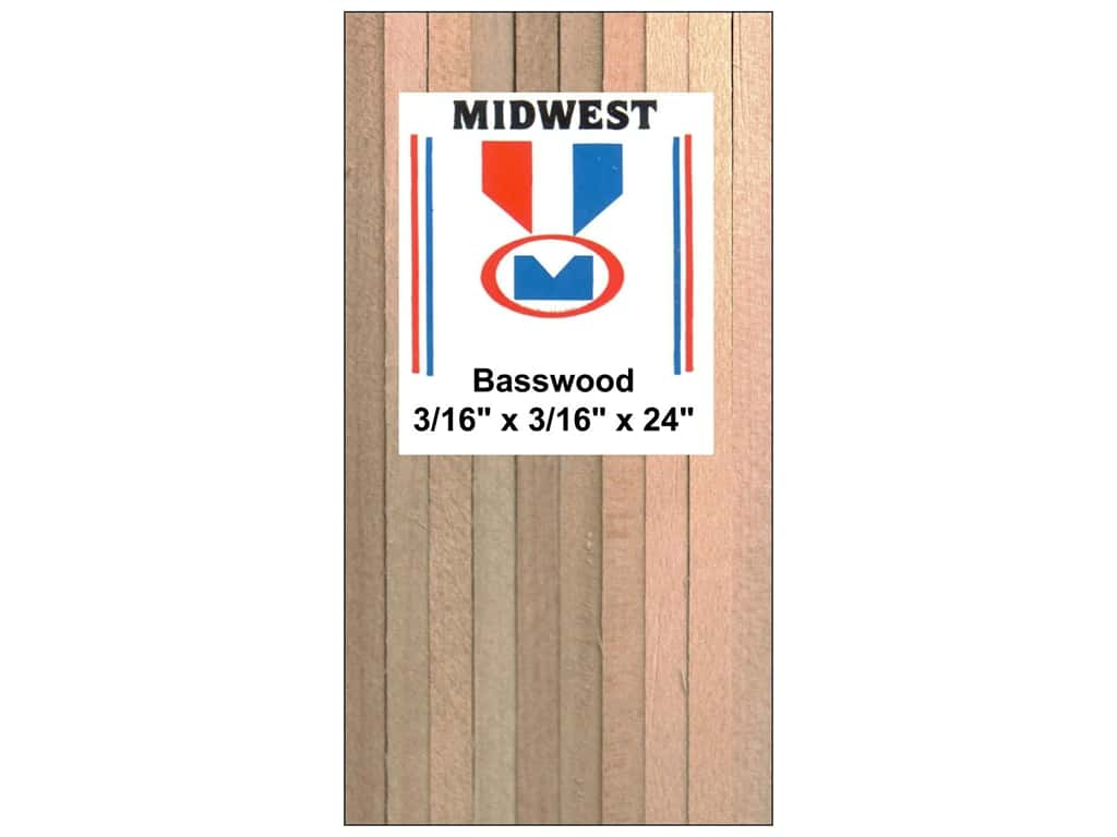 Midwest Basswood Strip 3/16 x 3/16 x 24 in. (36 pieces)