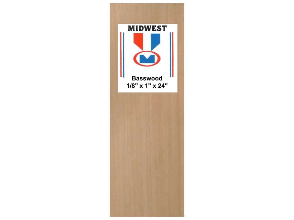 Midwest Basswood Sheet 1/8 x 1 x 24 in. (15 pieces)