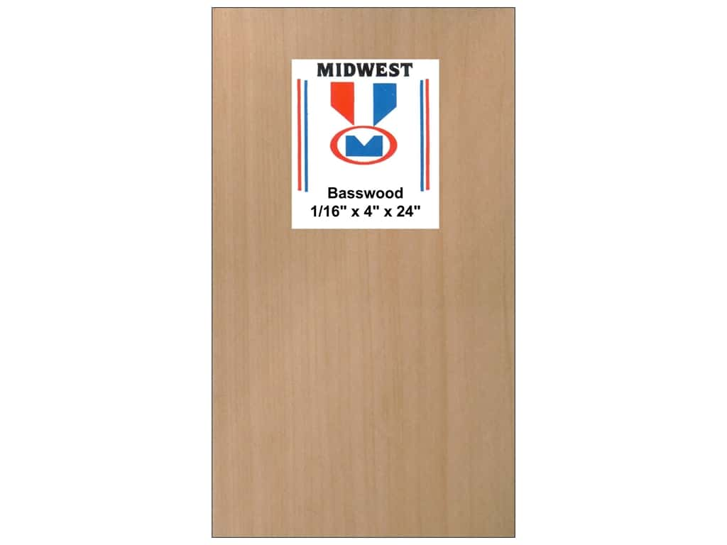 Midwest Basswood Sheet 1/16 x 4 x 24 in. (15 pieces)