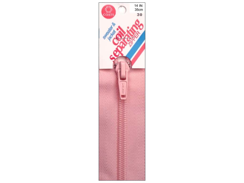Coats Sweater & Jacket Coil Separating Zipper 14 in. #30 Light Pink