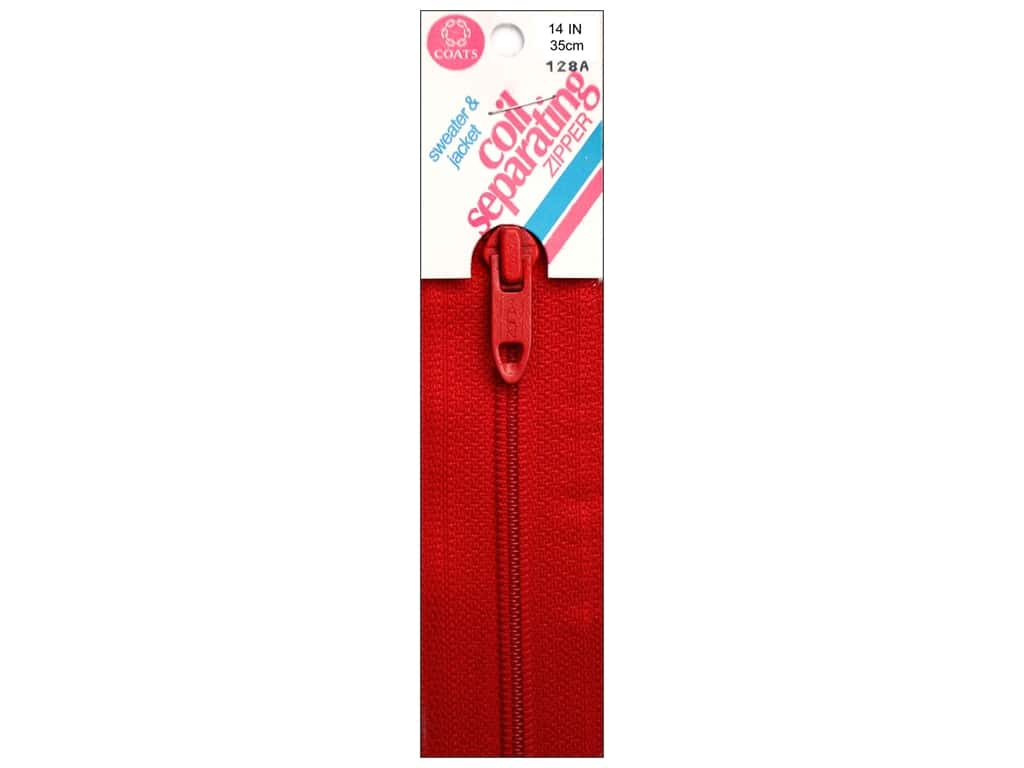 Coats Sweater & Jacket Coil Separating Zipper 14 in. #128a Atom Red