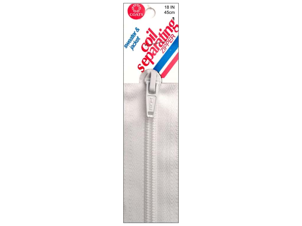 Coats Sweater & Jacket Coil Separating Zipper 18 in. #1 White