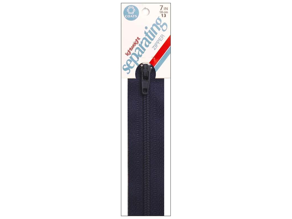 Coats Lightweight Coil Separating Zipper 7 in. Navy