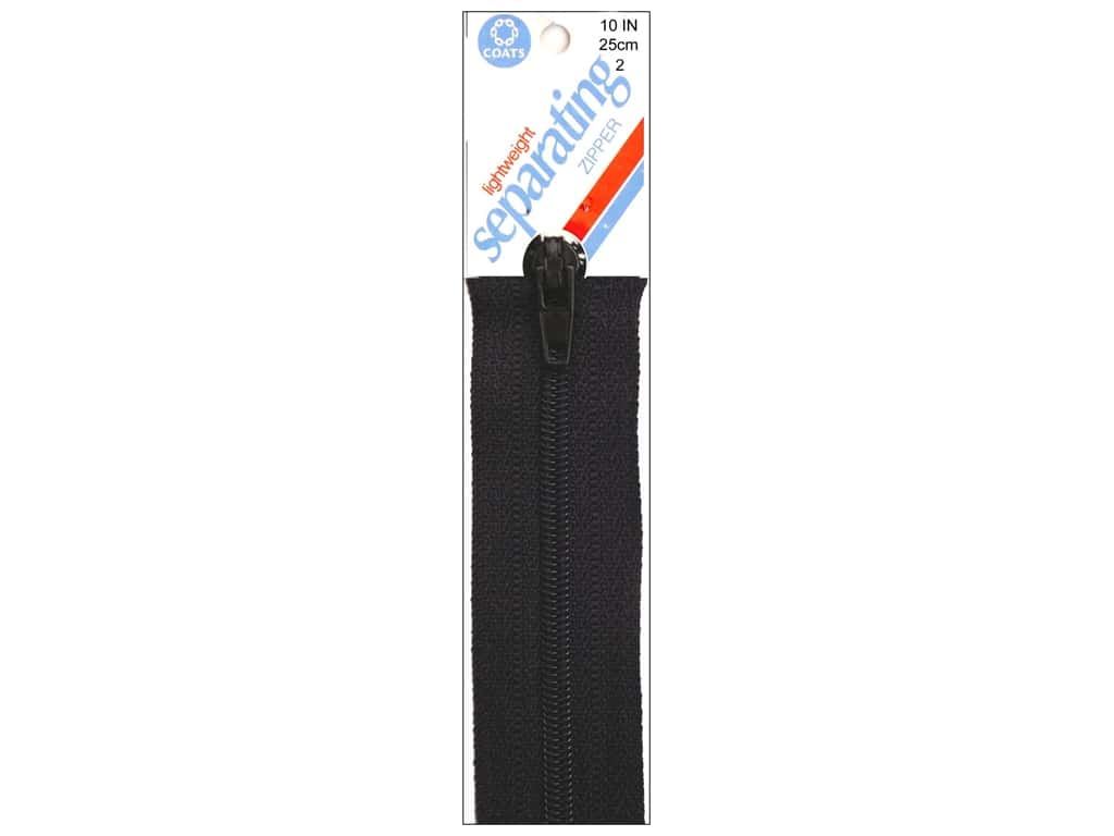 Coats Lightweight Coil Separating Zipper 10 in. Black
