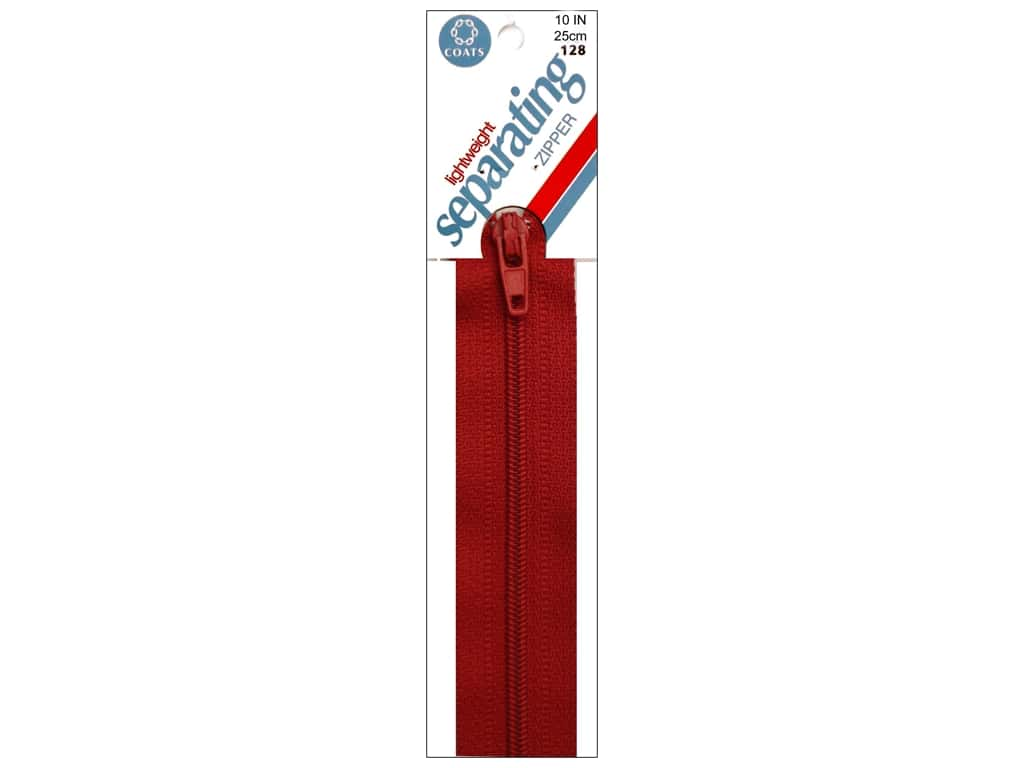 Coats Lightweight Coil Separating Zipper 10 in. Red