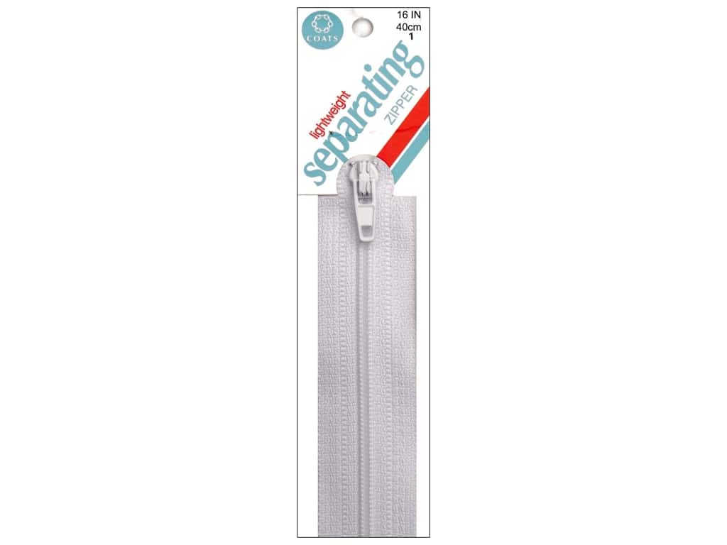 Coats Lightweight Coil Separating Zipper 16 in. White