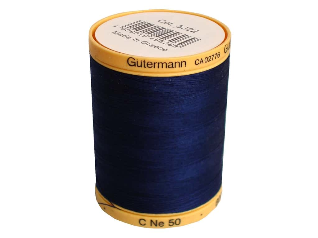 Gutermann 100% Natural Cotton Sewing Thread 875 yd. #5322 Navy